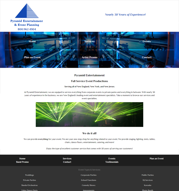 Pyramid Entertainment - A site we designed